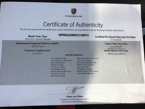 Used 2012 Porsche 911 Carrera | Miami, FL n66